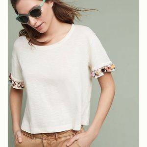 Anthropologie LILKA | Pom Pom trim T Shirt